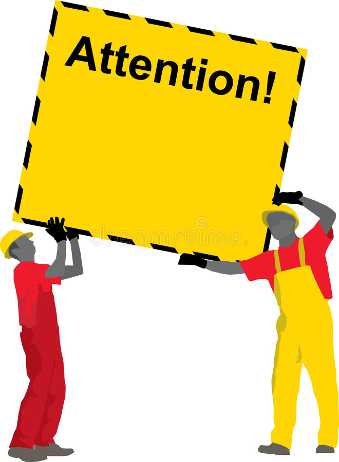 Construction Workers holding Poster vector illustration