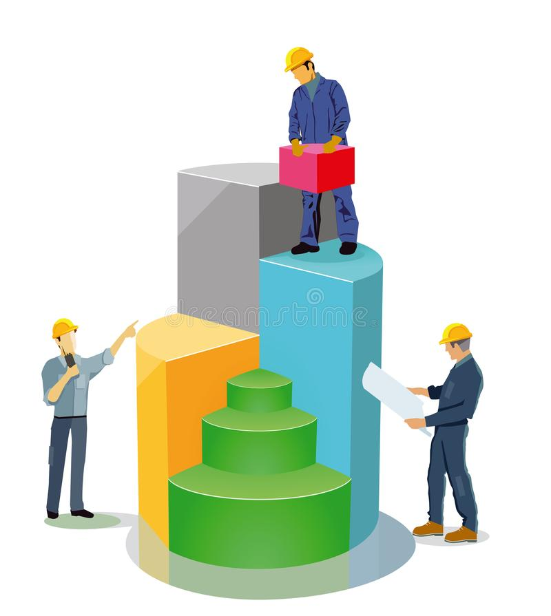 Construction workers illustrated on bar chart stock vector construction workers with blueprint building blocks and radio illustrated on colorful bar chart malvernweather Image collections
