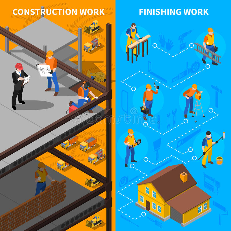 Construction Workers Isometric Banners Set stock illustration