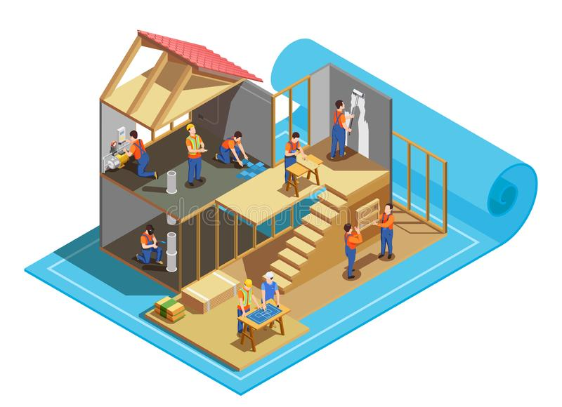 Construction Workers Isometric Composition vector illustration