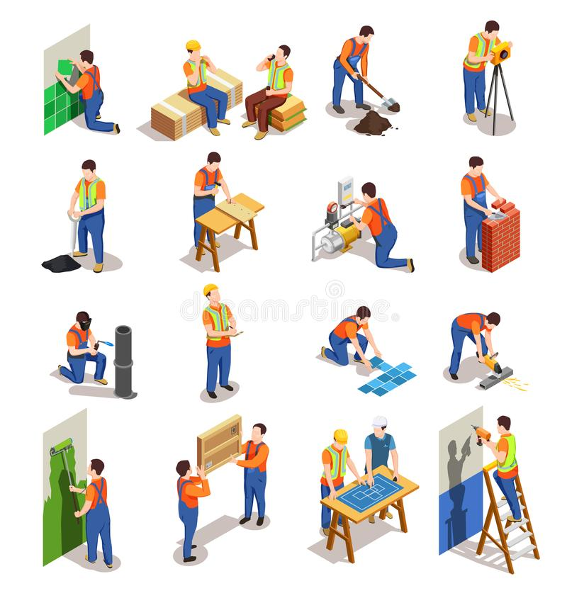 Construction Workers Isometric People. Construction workers with professional equipment during various building activity isometric people isolated vector royalty free illustration