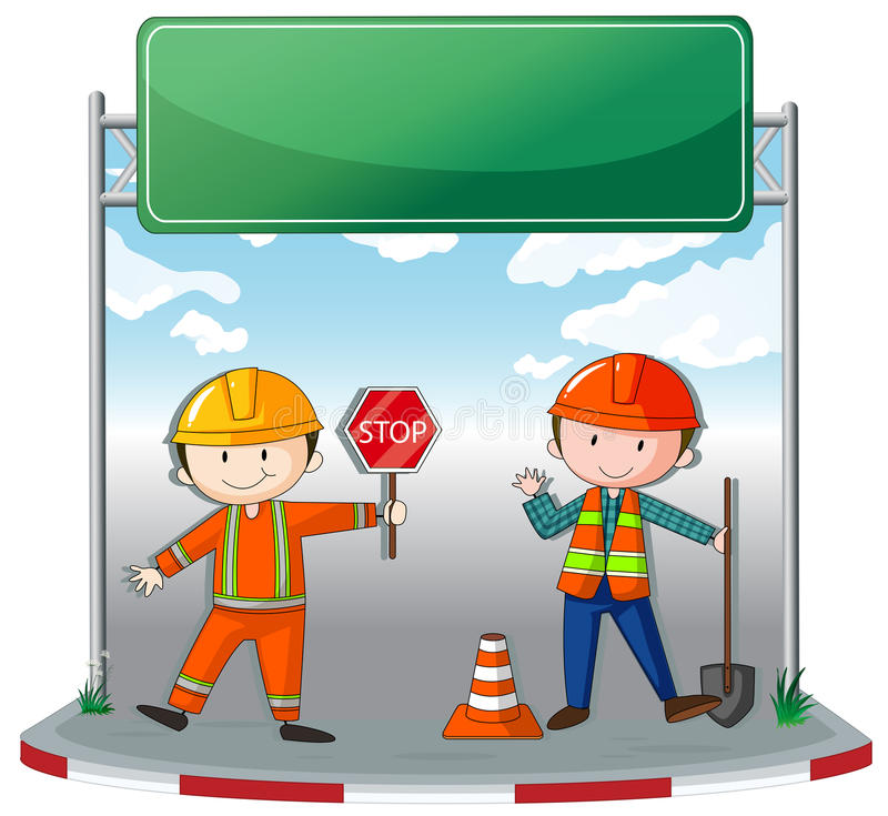 Construction workers at site vector illustration