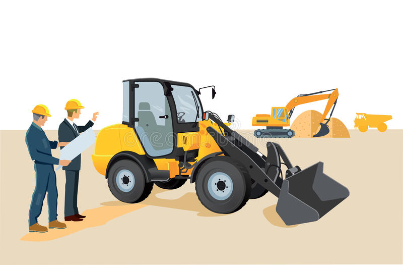 Construction workers at site royalty free illustration
