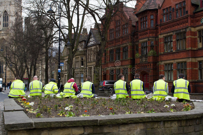Construction Workers Taking A Break. Construction workers wearing high visibility clothing taking a break outdoors on the city streets of York stock photo