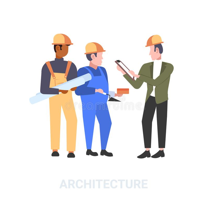 Construction workers team discussing new building project during meeting mix race builders in helmet industrial stock illustration