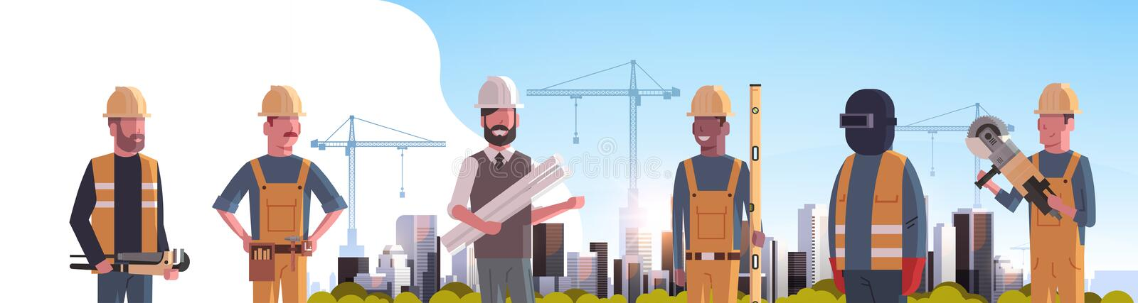 Construction workers team industrial technicians builders group over city construction site tower cranes building. Residential buildings cityscape background stock illustration