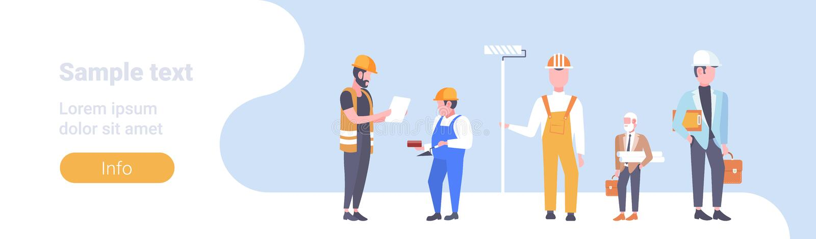Construction workers team industrial technicians men builders group male cartoon characters full length horizontal copy stock illustration