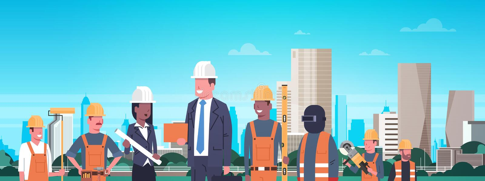 Construction Workers Team Over Modern City Background Horizontal Banner vector illustration