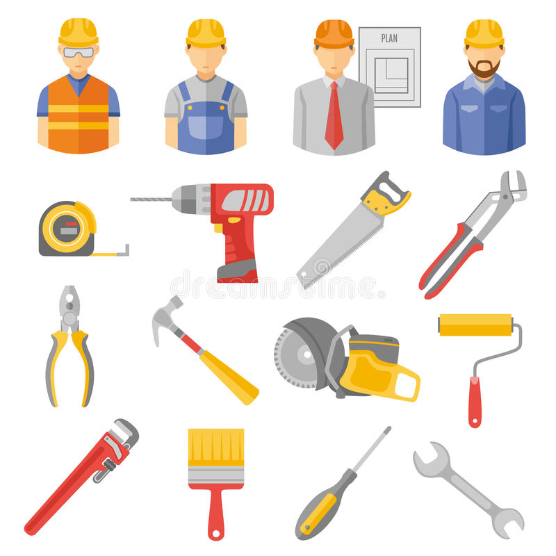 Construction workers tools flat icons set stock illustration
