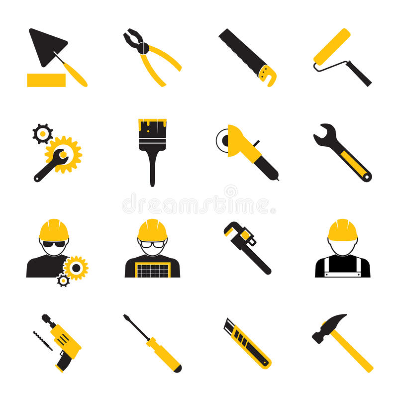 Construction Workers and Tools Icons royalty free illustration