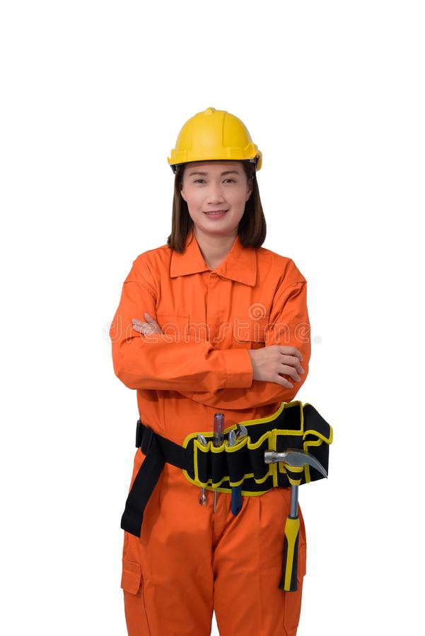 Construction workers wearing Orange Protective clothes, helmet with tool belt isolated on white backround. Construction woman workers wearing Orange Protective royalty free stock images