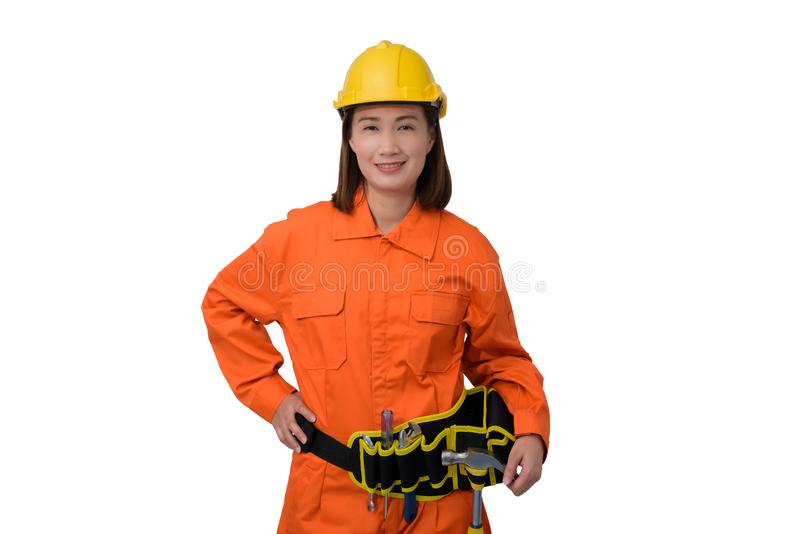 Construction workers wearing Orange Protective clothes, helmet with tool belt isolated on white backround. Construction woman workers wearing Orange Protective royalty free stock image