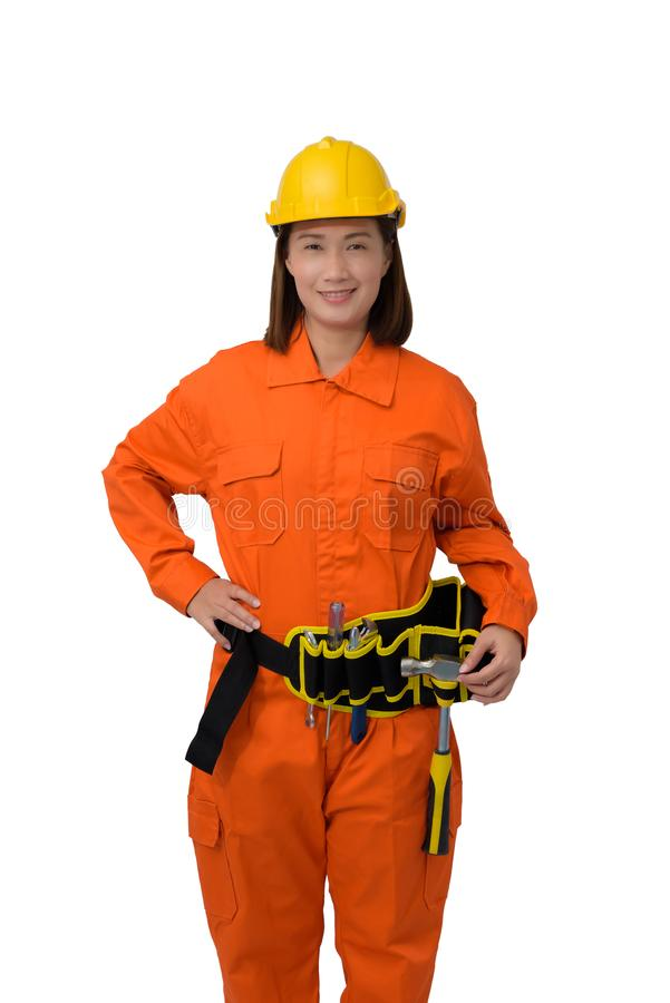 Construction workers wearing Orange Protective clothes, helmet with tool belt isolated on white backround. Construction woman workers wearing Orange Protective stock image