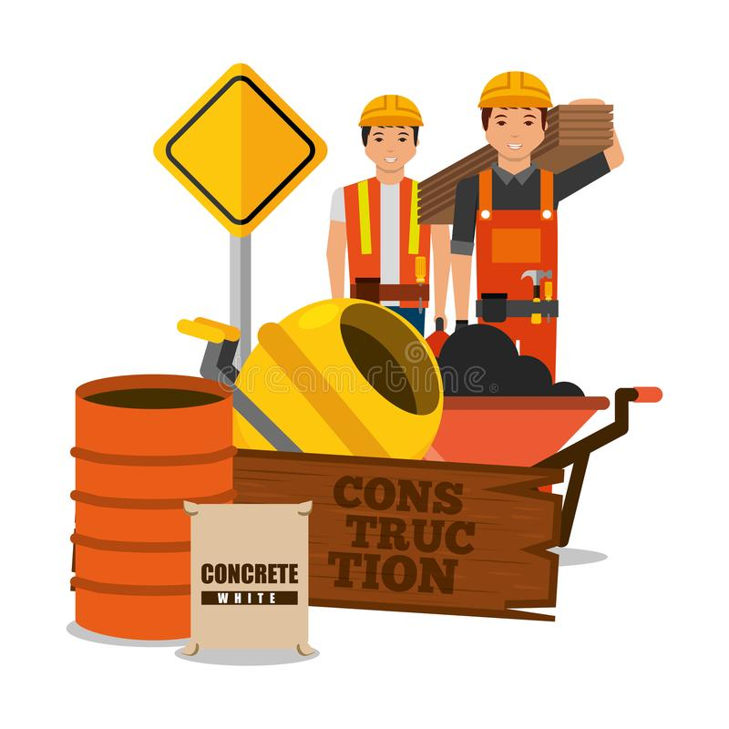 Construction workers wooden barrel sack concrete mixer sing road. Vector illustration stock illustration