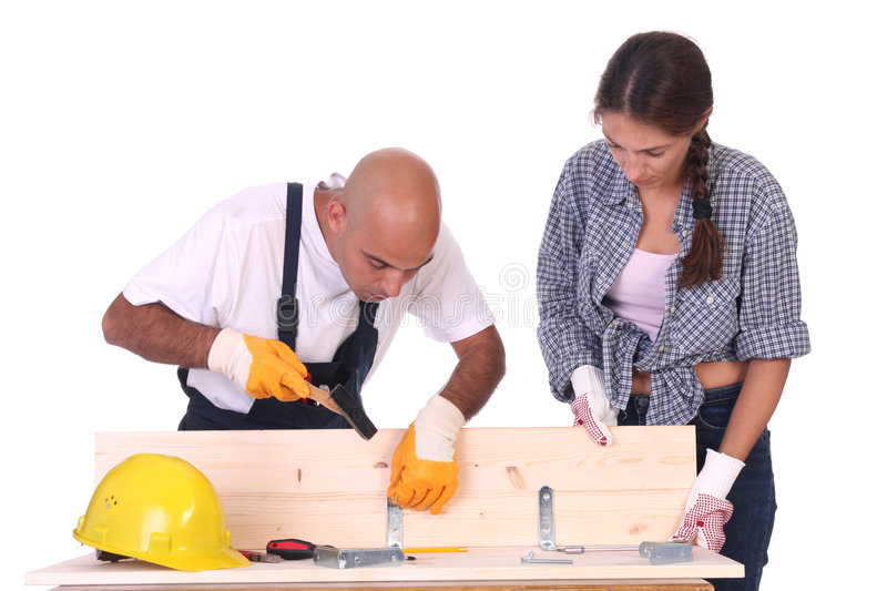 Construction workers at work stock images