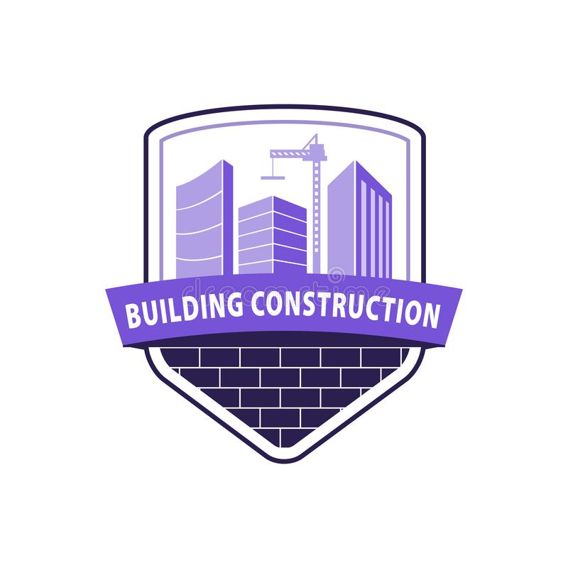 Construction working industry concept. Building construction logo in violet. High-rise buildings, construction crane on brick ba stock illustration
