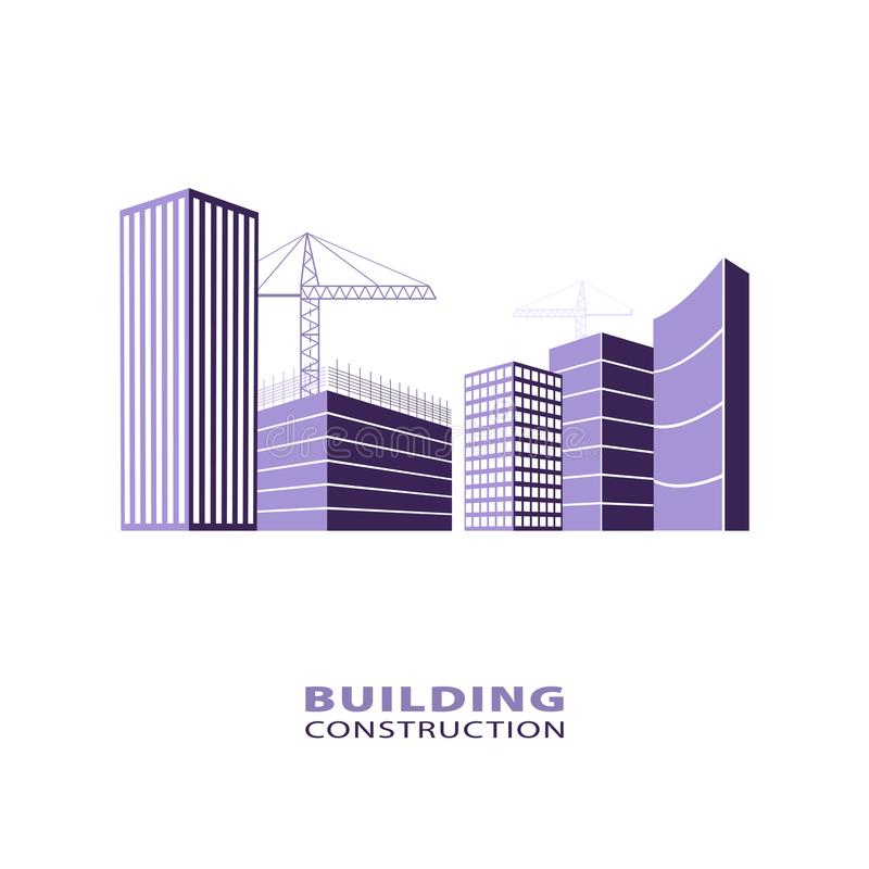 Construction working industry concept. Silhouette of buildings and building cranes. Building construction logo in violet. vector illustration