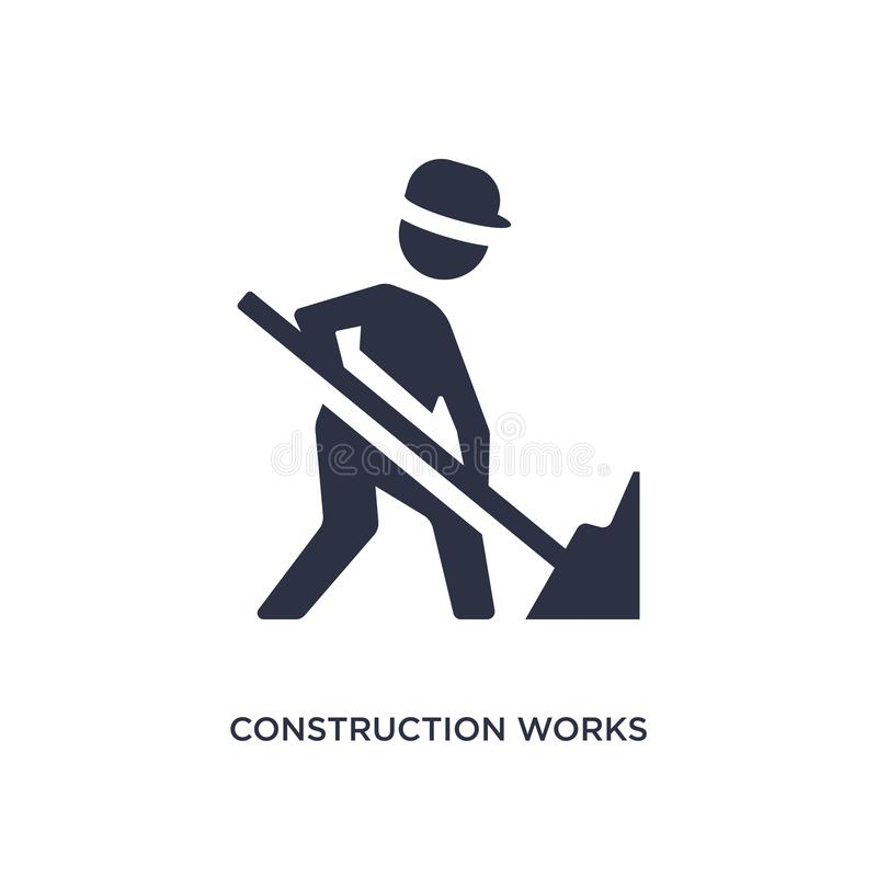 construction works icon on white background. Simple element illustration from construction concept royalty free illustration