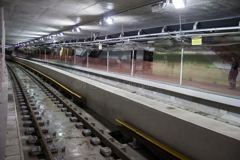 Construction works of the Rio Metro to the Olympics 2016 royalty free stock photography