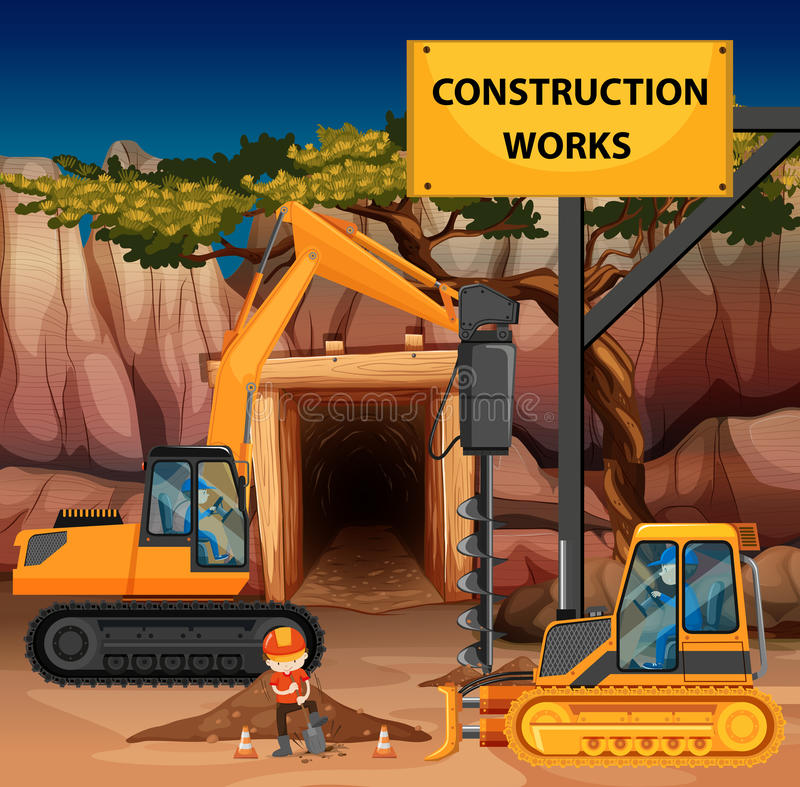 Construction works scene with driller and bulldozer royalty free illustration