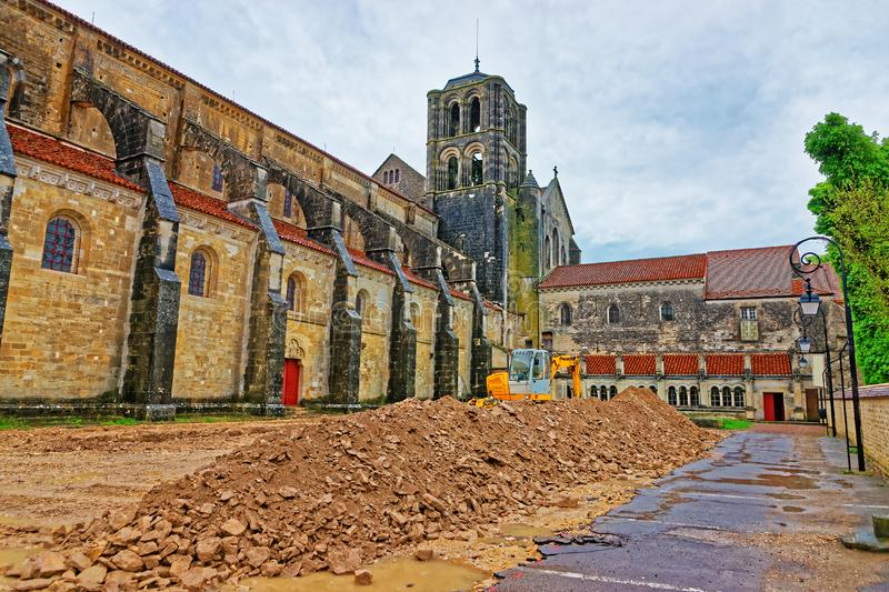 Construction works at Vezelay Abbey in Bourgogne Franche Comte France. Construction works at Vezelay Abbey in Avallon of Yonne department in Bourgogne Franche royalty free stock photography