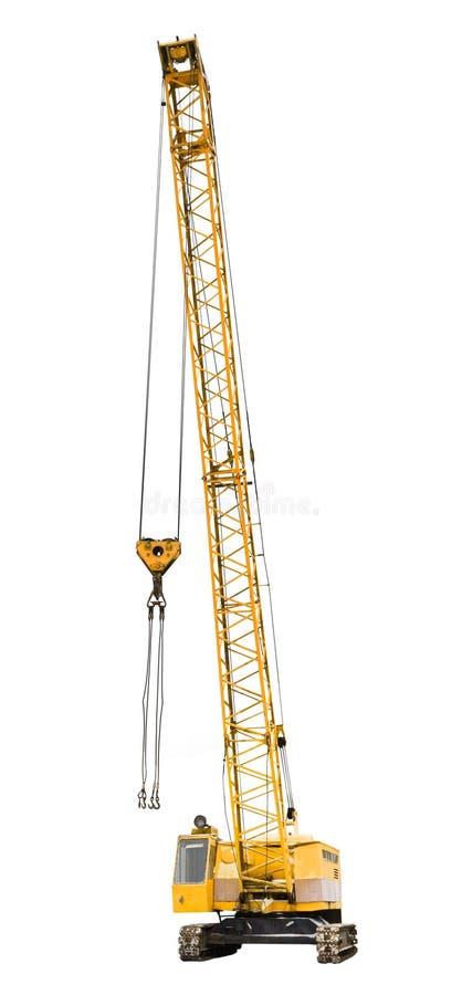 Construction yellow crawler crane isolated. On white background stock photos
