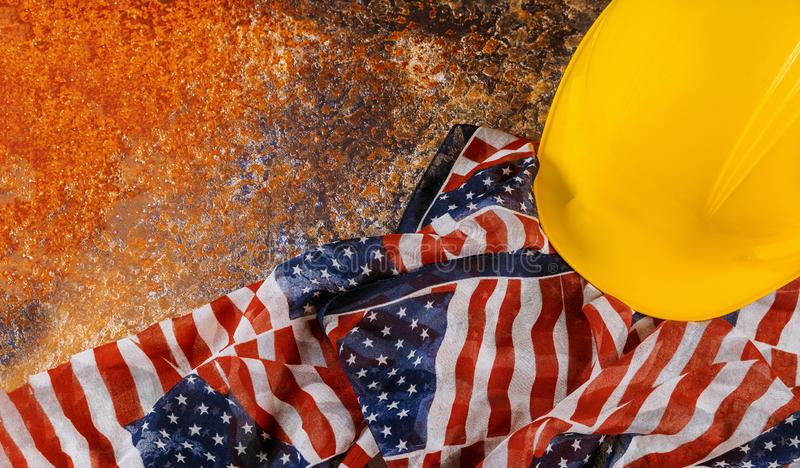 Construction yellow helmet with copy space for Labor day royalty free stock image