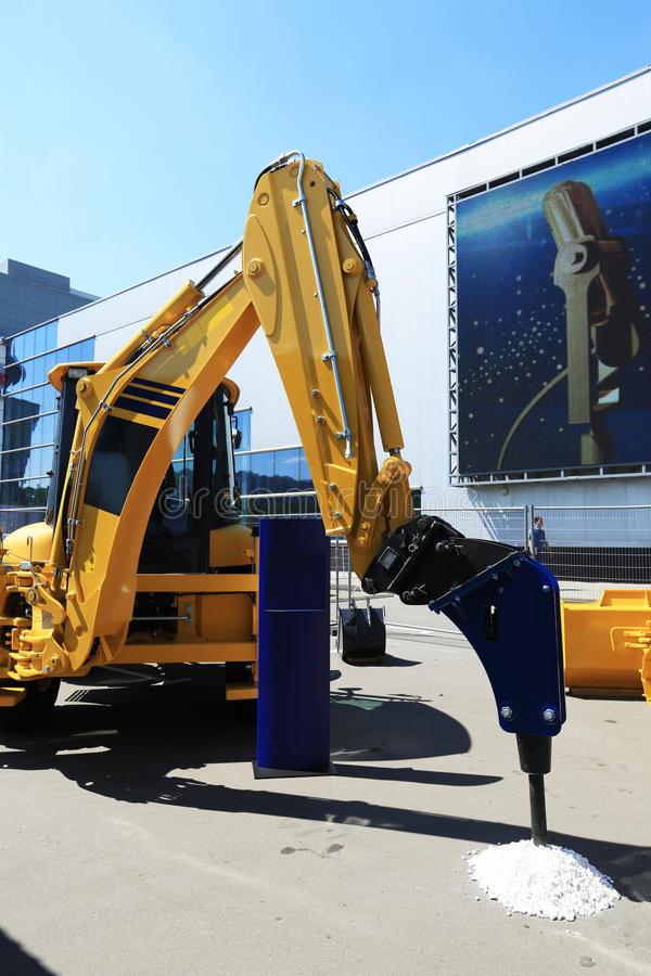 Construction yellow machine. With a large drill for wells stock photo