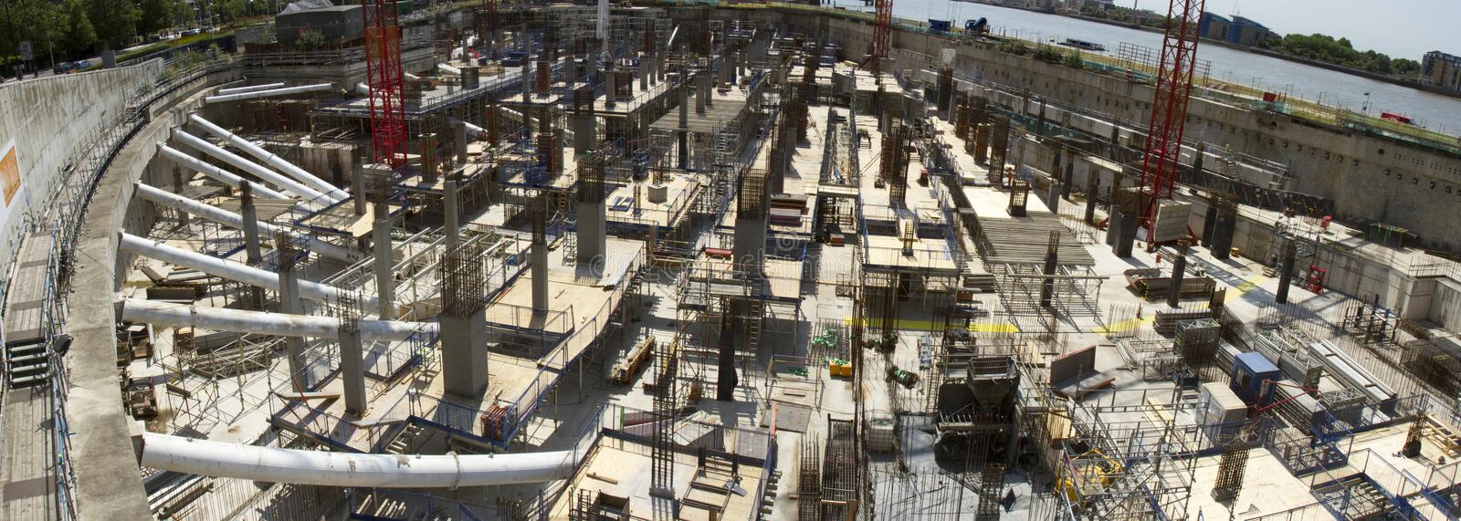 Construction Zone. View into ground level of large construction project stock photography