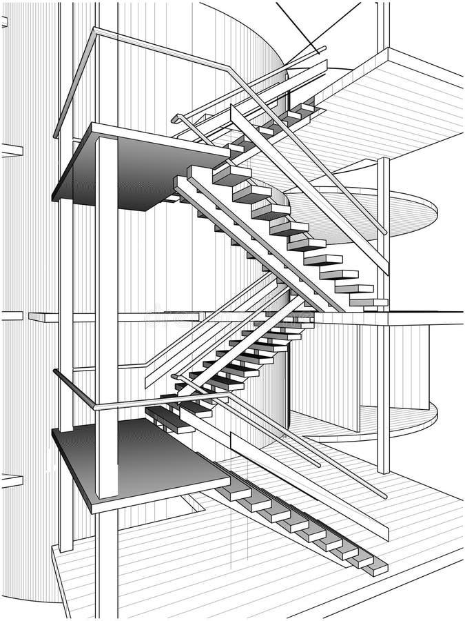 Constructions abstraites d'escalier de ligne vecteur illustration de vecteur