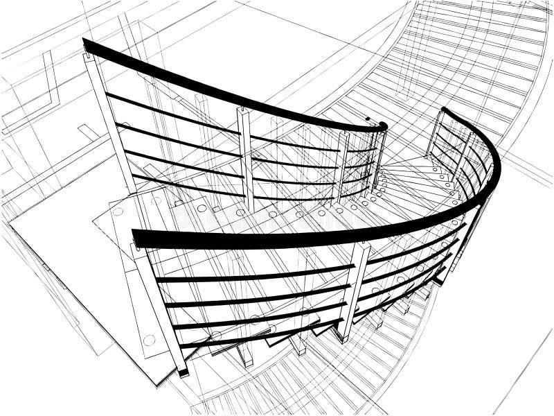 Constructions abstraites d'escaliers spiralés de ligne illustration stock