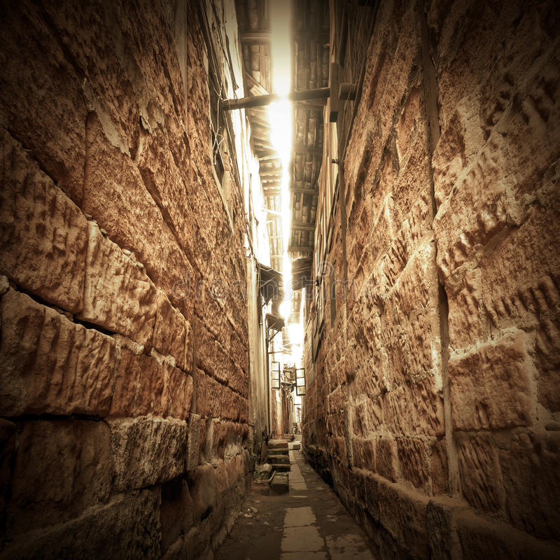 Constructions antiques chinoises : ruelle photo stock