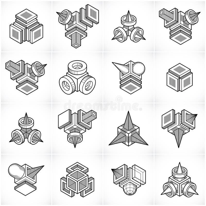 Constructions collection, vecteurs abstraits d'ingénierie réglés illustration libre de droits