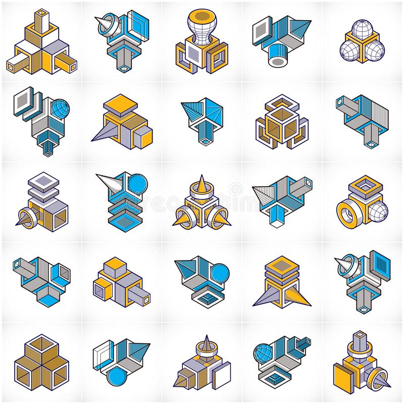 Constructions collection, vecteurs abstraits d'ingénierie réglés illustration stock