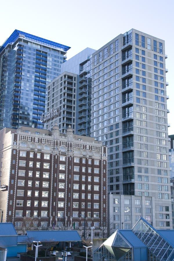 Constructions commerciales à Seattle du centre photographie stock