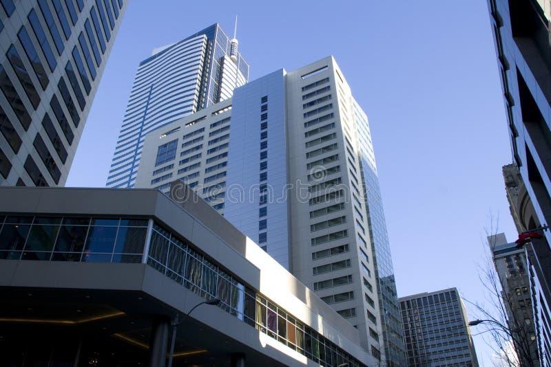 Constructions commerciales à Seattle du centre photographie stock libre de droits