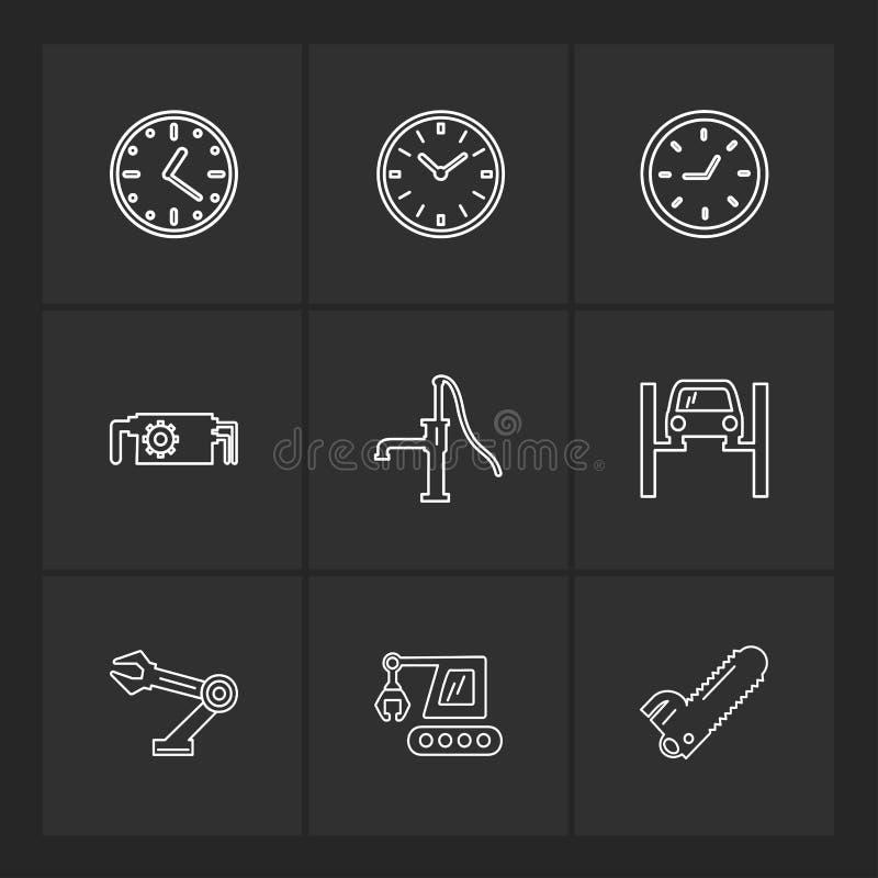 Constructions , crane , saw , handpump , Watch , time , clock ,. Constructions , crane , saw , handpump ,Watch , time , clock , alaram , day , timers , icon stock illustration