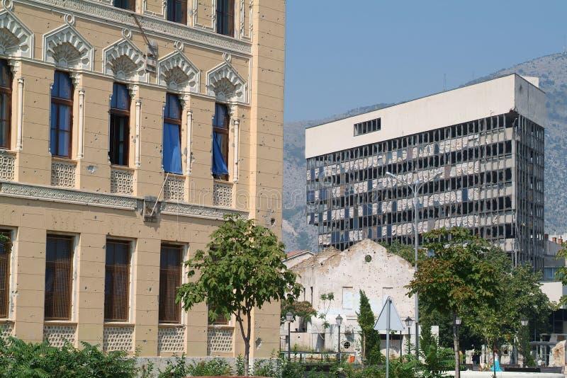 Constructions détruites de Mostar photographie stock libre de droits