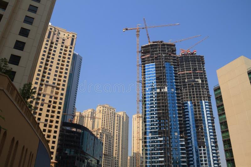 Constructions de marina de Dubaï en construction image libre de droits