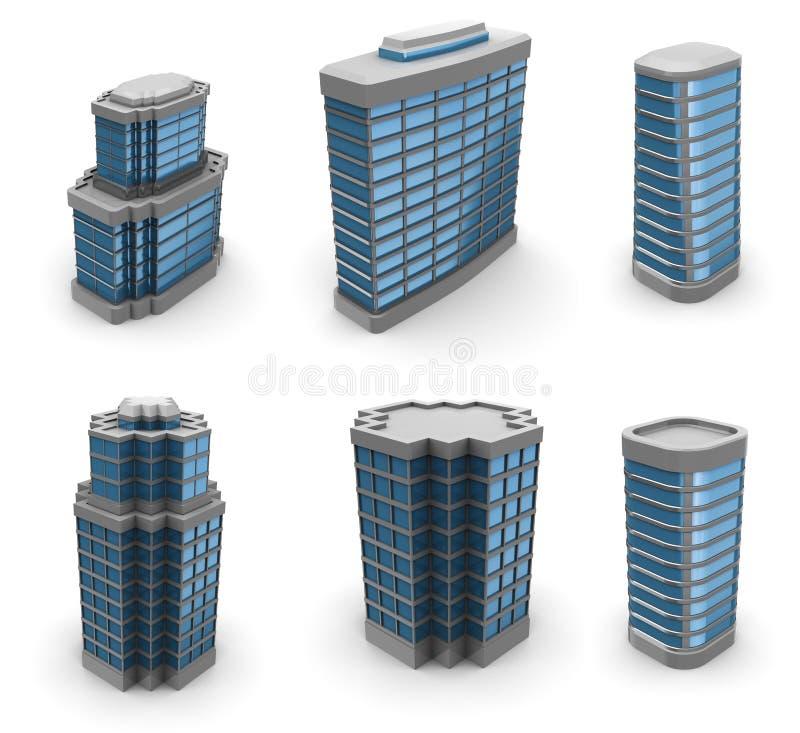 Constructions de ville réglées illustration stock