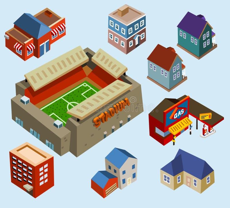 Constructions et stade de football illustration de vecteur