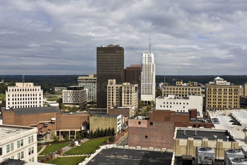 constructions Ohio du centre d'Akron photos stock