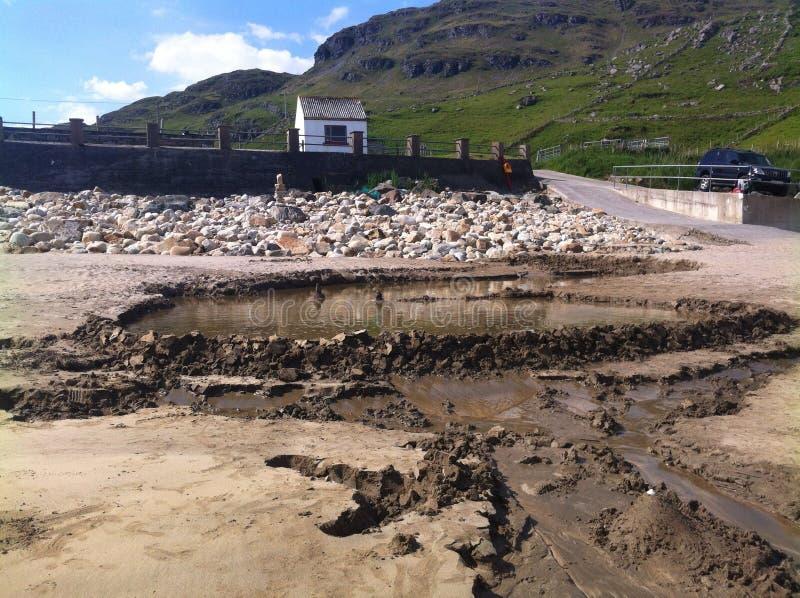 Constructive beach fun. Muckross beach, Kilcar, Co Donegal, Ireland stock images