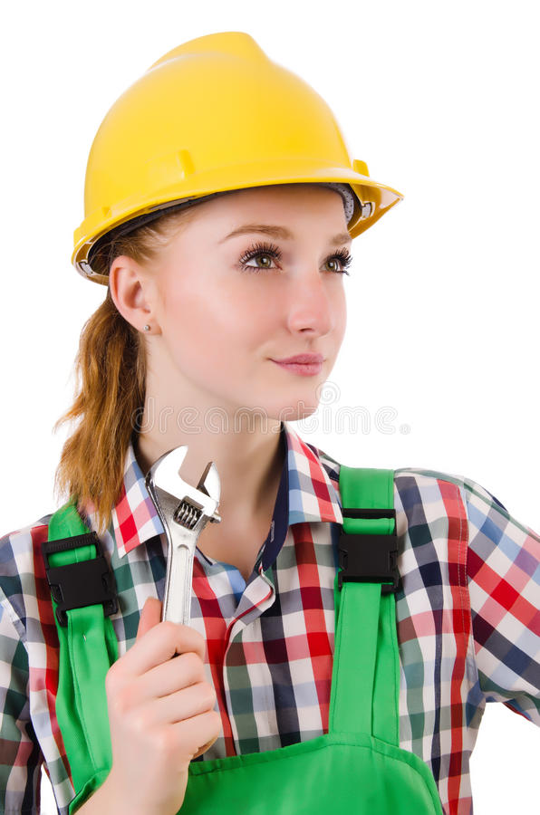 Constructon worker female with wrench isolated. On white royalty free stock photography