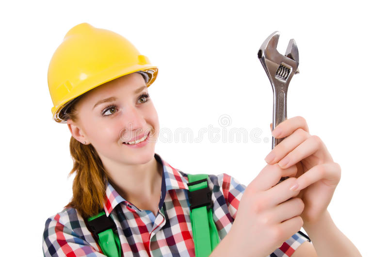 Constructon worker female with wrench isolated. On white stock images