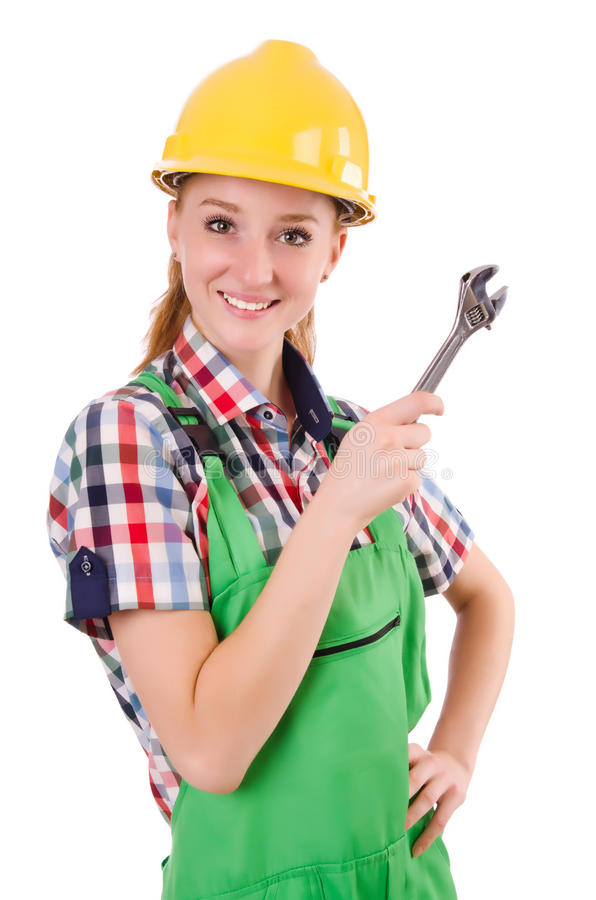 Constructon worker female with wrench isolated. On white royalty free stock photos