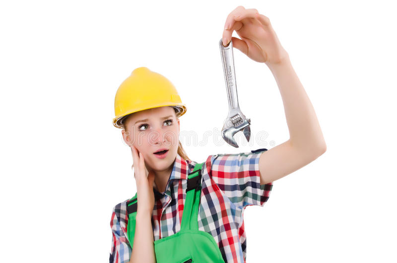 Constructon worker female with wrench isolated. On white royalty free stock images
