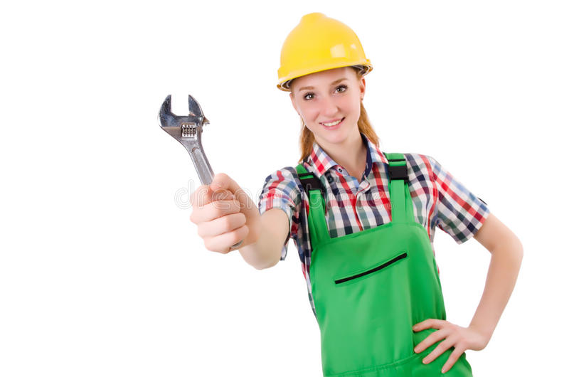 Constructon worker female with wrench isolated. On white stock image