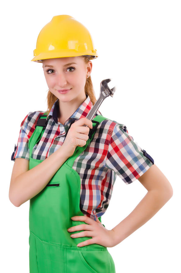 Constructon worker female with wrench isolated. On white royalty free stock image