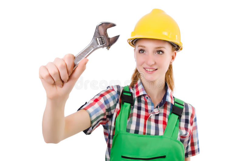 Constructon worker female with wrench. Isolated on white royalty free stock photo